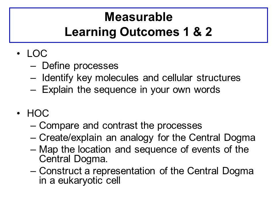 Measurable Learning Outcomes 1 & 2