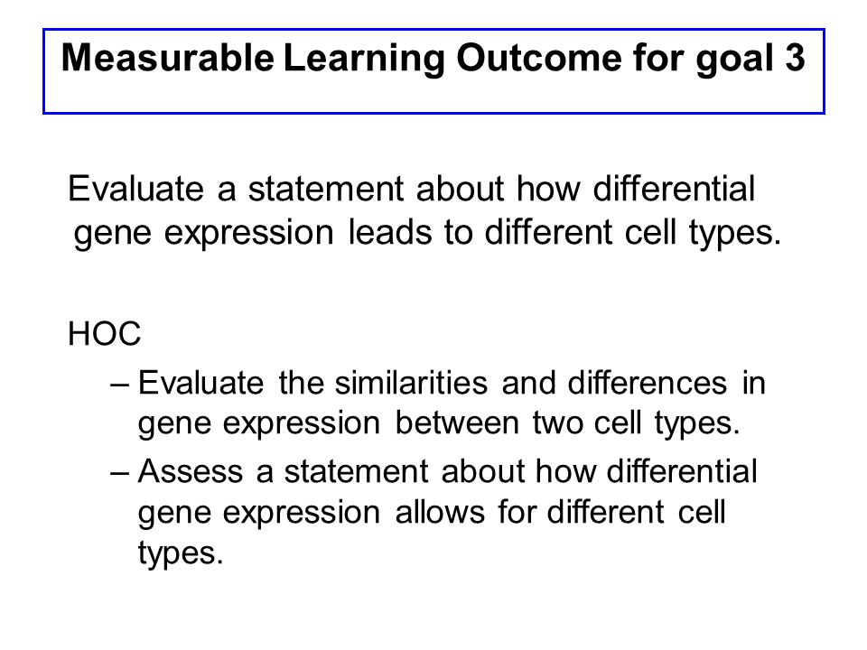 Measurable Learning Outcome for goal 3