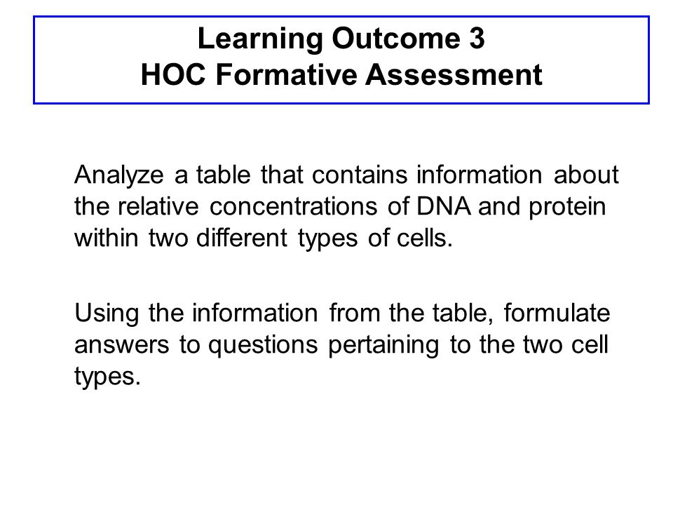 Learning Outcome 3 HOC Formative Assessment