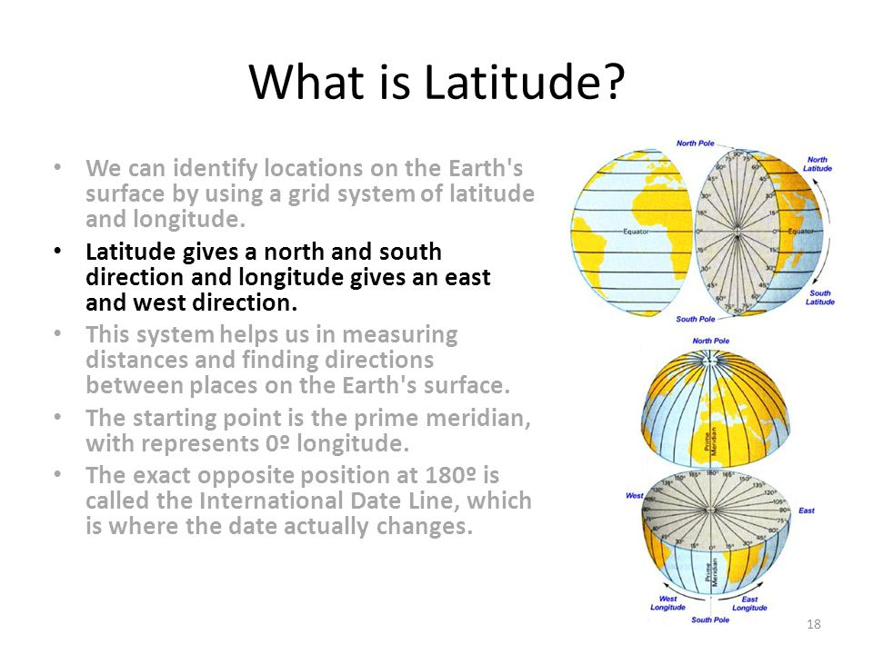 What is Latitude We can identify locations on the Earth s surface by using a grid system of latitude and longitude.