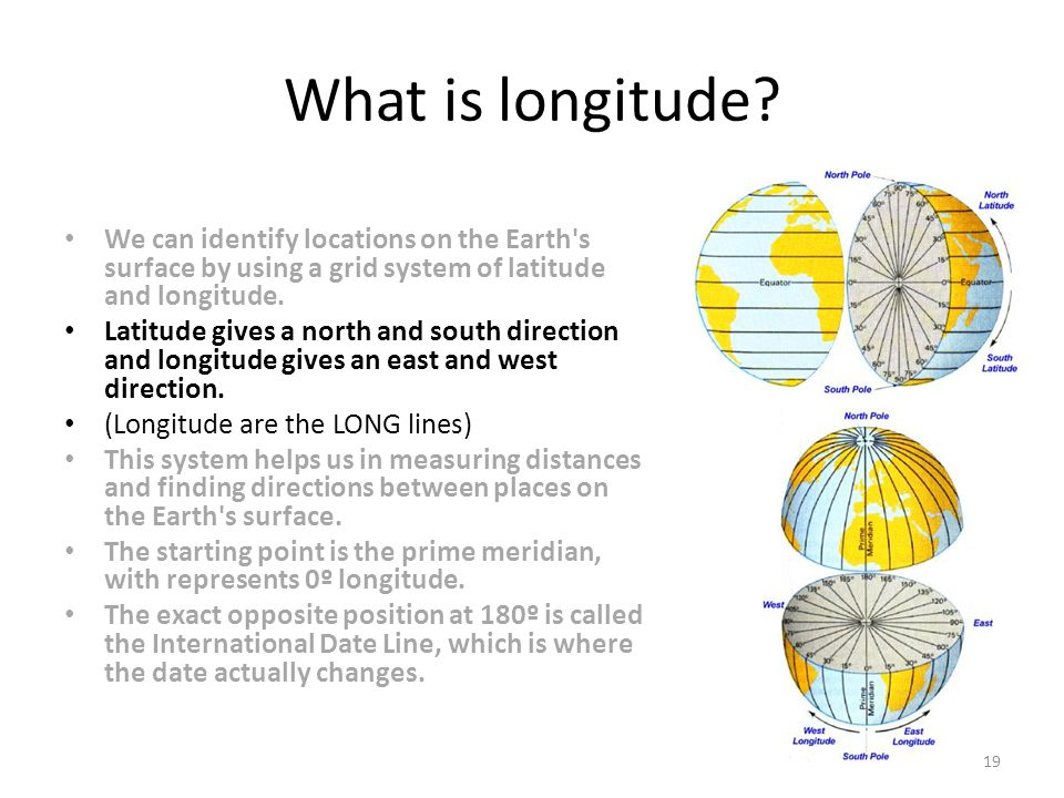 What is longitude We can identify locations on the Earth s surface by using a grid system of latitude and longitude.