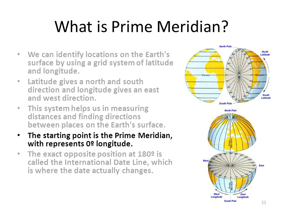 What is Prime Meridian We can identify locations on the Earth s surface by using a grid system of latitude and longitude.