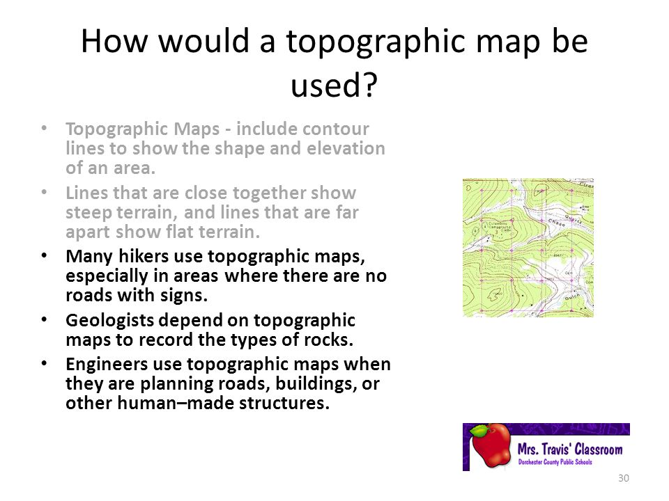 How would a topographic map be used