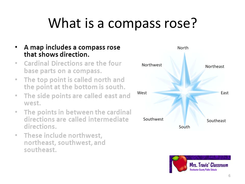 What is a compass rose A map includes a compass rose that shows direction. Cardinal Directions are the four base parts on a compass.