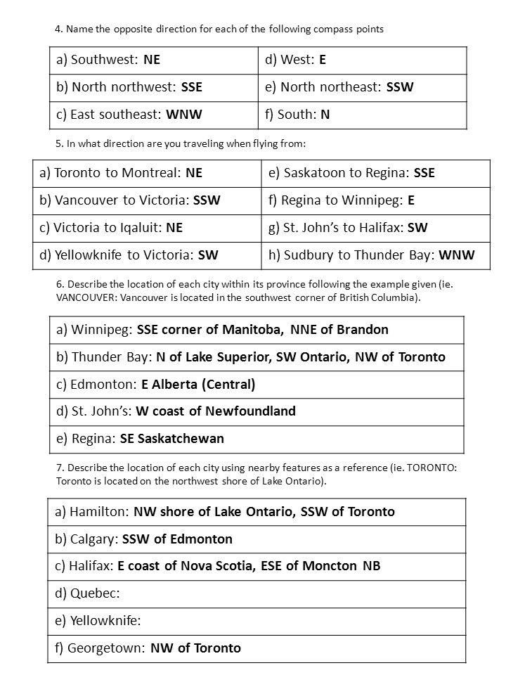 b) North northwest: SSE e) North northeast: SSW c) East southeast: WNW