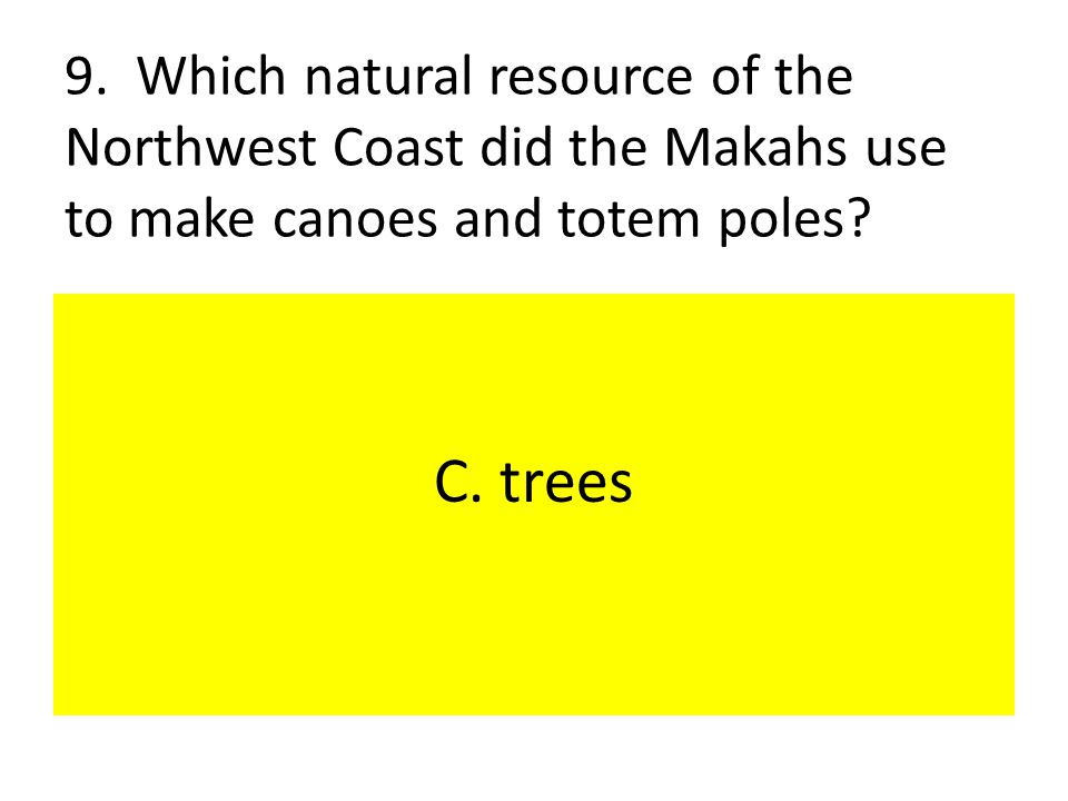 9. Which natural resource of the Northwest Coast did the Makahs use to make canoes and totem poles