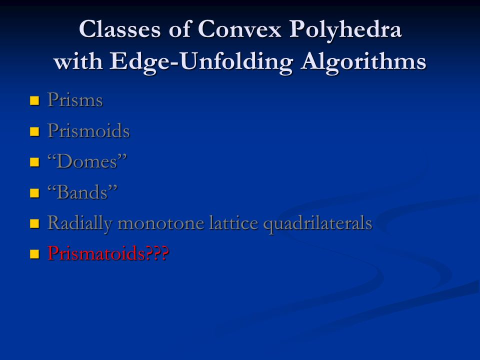 Classes of Convex Polyhedra with Edge-Unfolding Algorithms