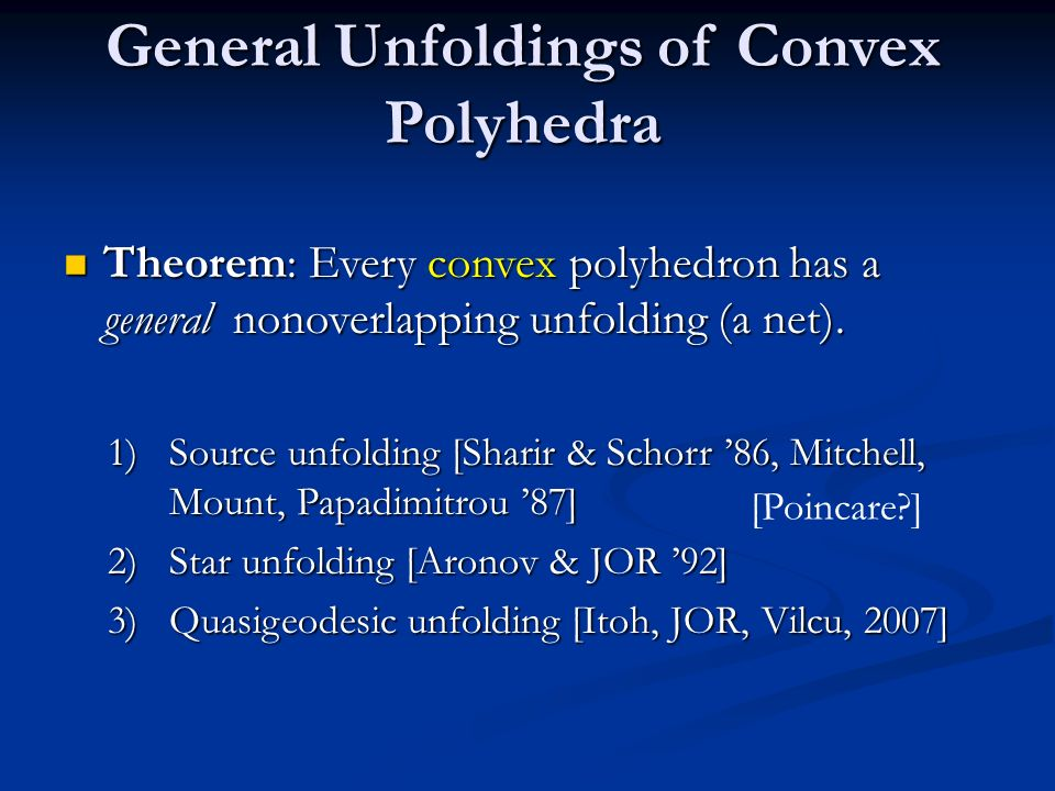 General Unfoldings of Convex Polyhedra