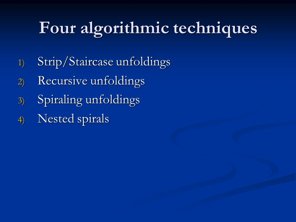 Four algorithmic techniques