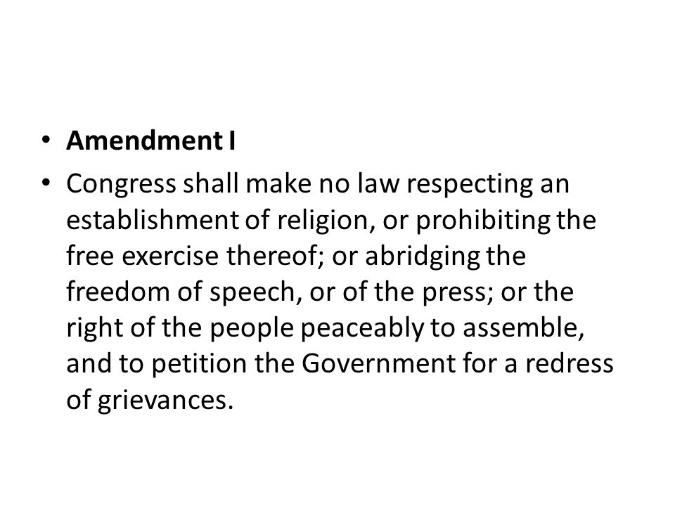 Amendment I