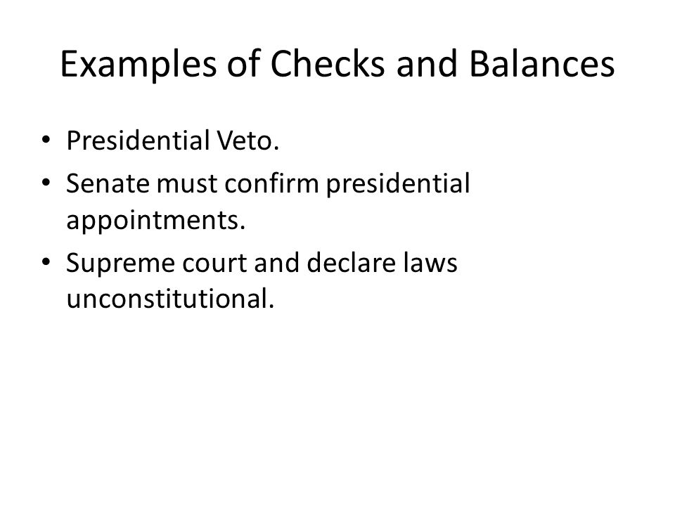 Examples of Checks and Balances
