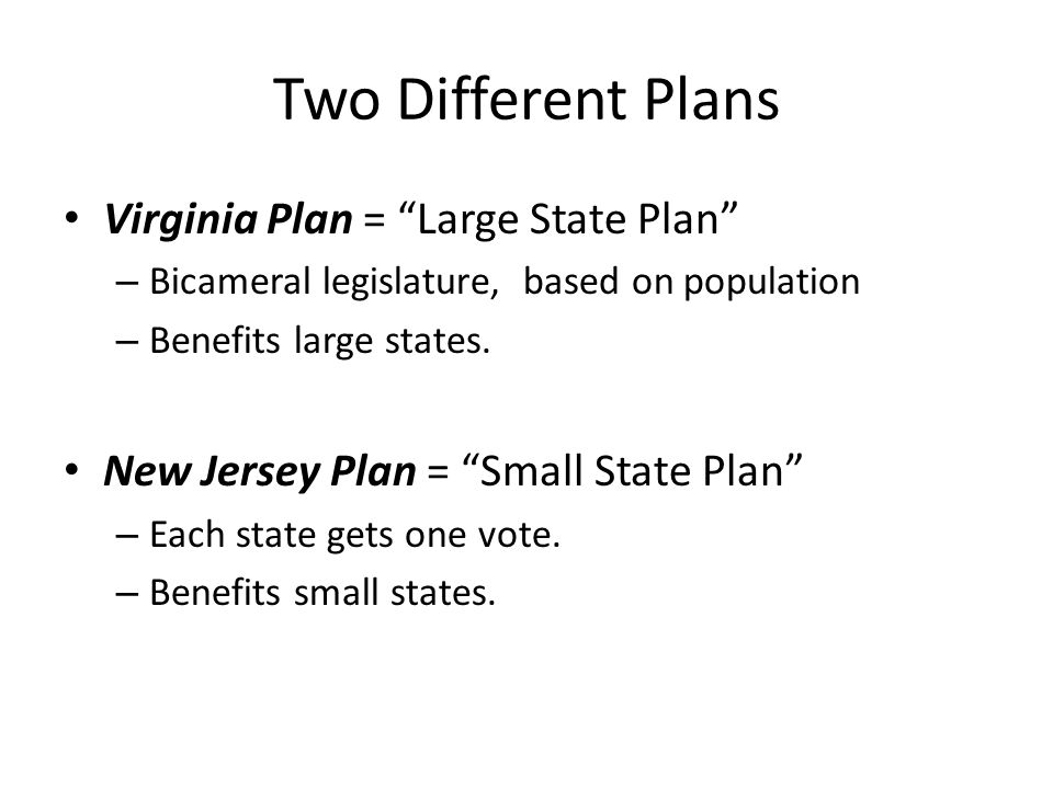 Two Different Plans Virginia Plan = Large State Plan