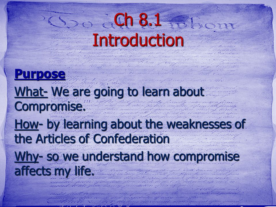 Ch 8.1 Introduction Purpose
