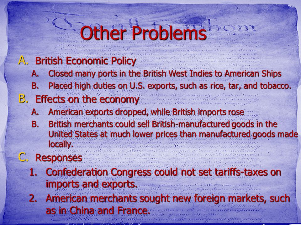 Other Problems British Economic Policy Effects on the economy