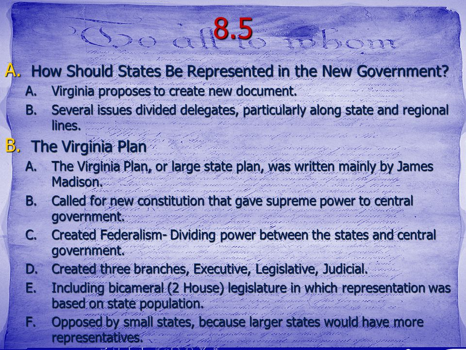 8.5 How Should States Be Represented in the New Government