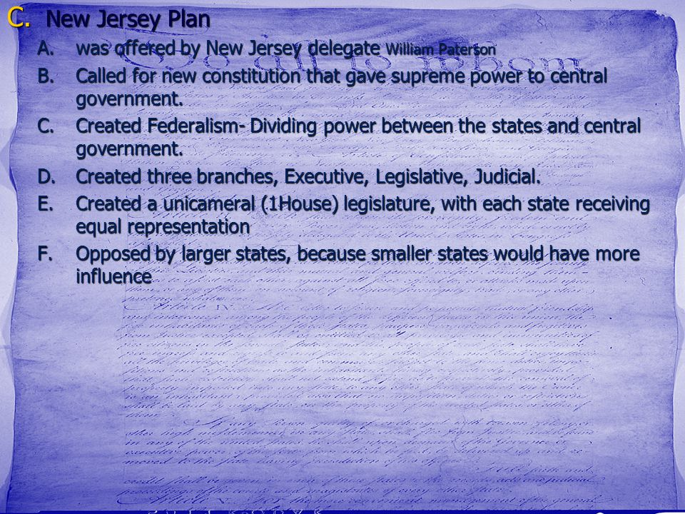 New Jersey Plan was offered by New Jersey delegate William Paterson