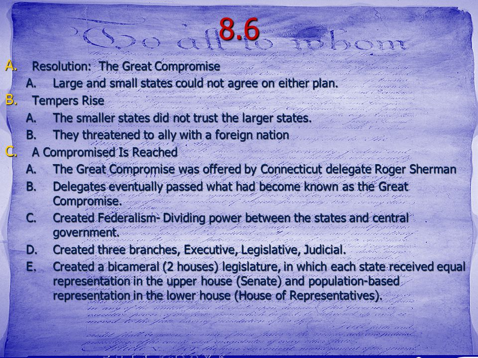 8.6 Resolution: The Great Compromise
