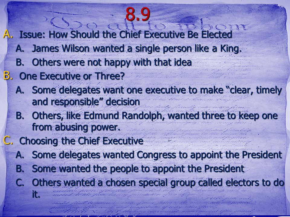 8.9 Issue: How Should the Chief Executive Be Elected