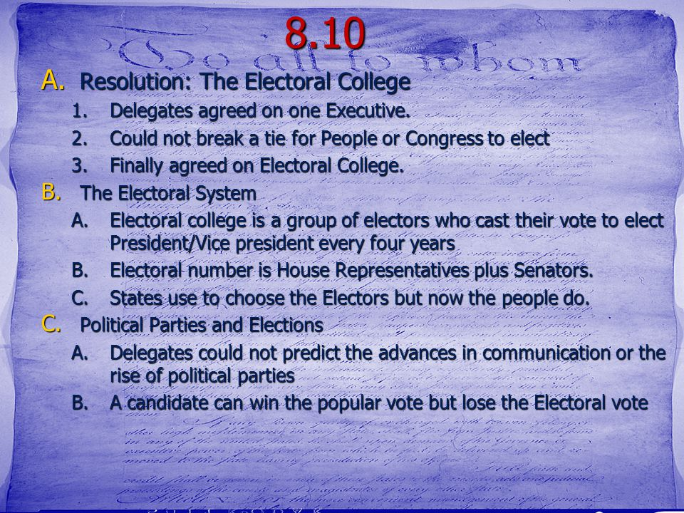 8.10 Resolution: The Electoral College