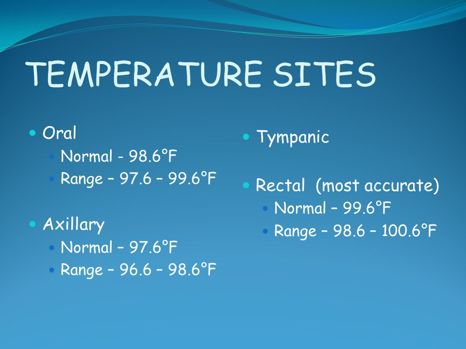TEMPERATURE SITES Oral Tympanic Rectal (most accurate) Axillary