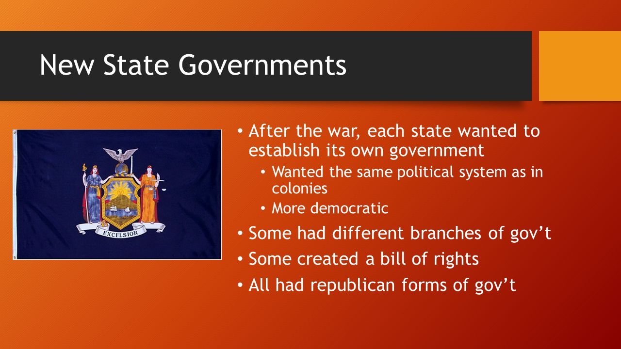 New State Governments After the war, each state wanted to establish its own government. Wanted the same political system as in colonies.