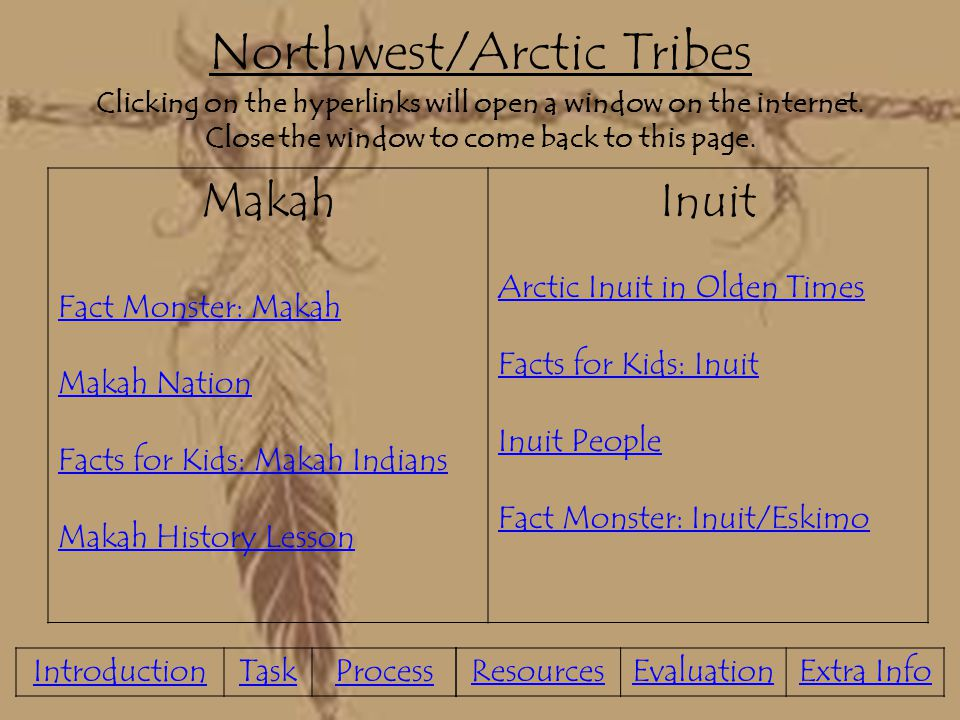 Northwest/Arctic Tribes Clicking on the hyperlinks will open a window on the internet. Close the window to come back to this page.