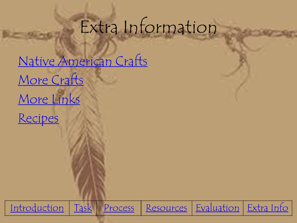 Extra Information Native American Crafts More Crafts More Links Recipes Introduction. Task. Process.