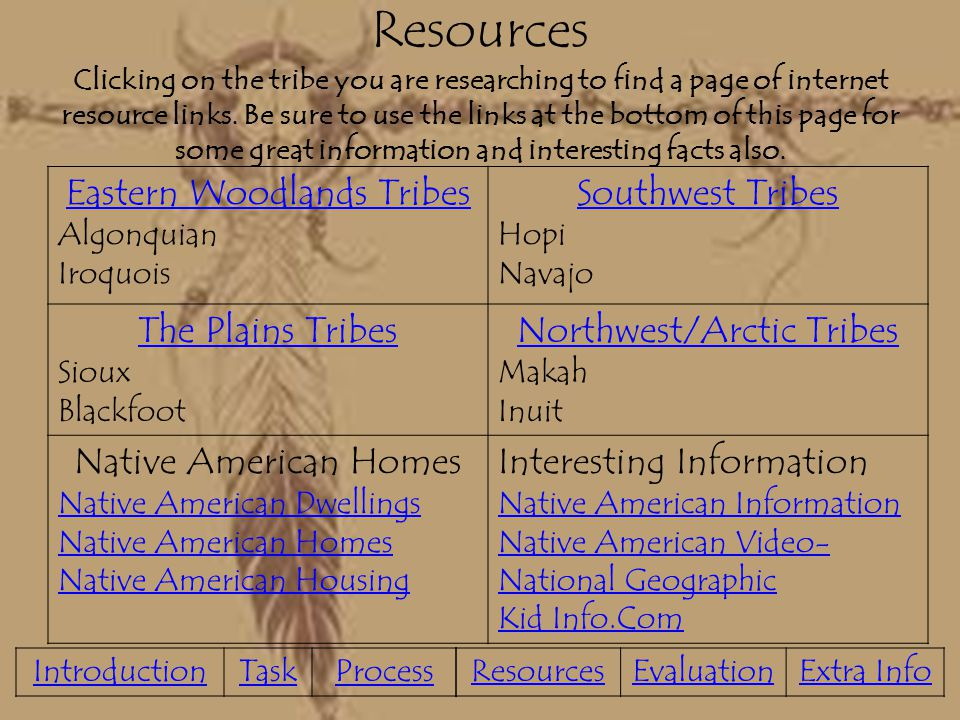 Resources Clicking on the tribe you are researching to find a page of internet resource links. Be sure to use the links at the bottom of this page for some great information and interesting facts also.