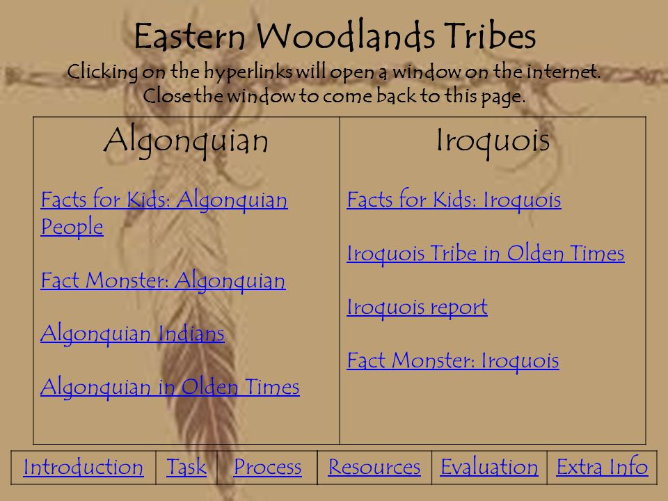 Eastern Woodlands Tribes Clicking on the hyperlinks will open a window on the internet. Close the window to come back to this page.