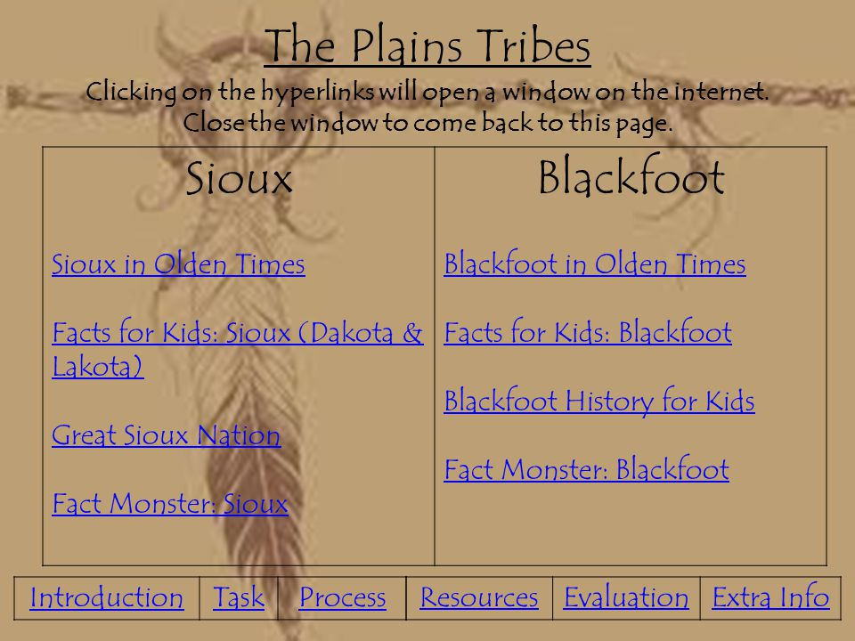 The Plains Tribes Clicking on the hyperlinks will open a window on the internet. Close the window to come back to this page.