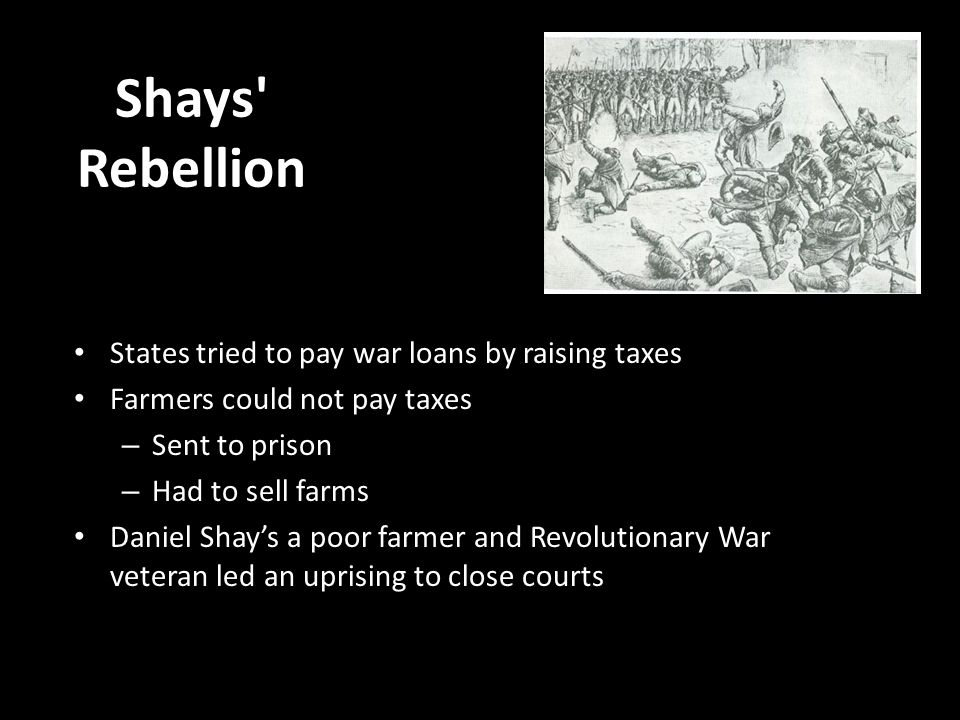Shays Rebellion States tried to pay war loans by raising taxes