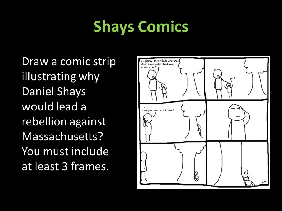 Shays Comics Draw a comic strip illustrating why Daniel Shays would lead a rebellion against Massachusetts.
