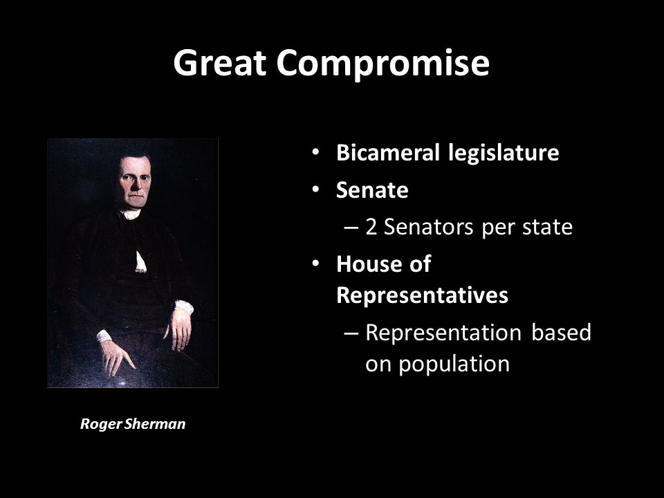 Great Compromise Bicameral legislature Senate 2 Senators per state