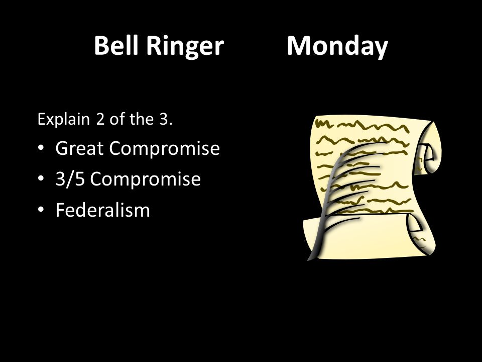 Bell Ringer Monday Great Compromise 3/5 Compromise Federalism