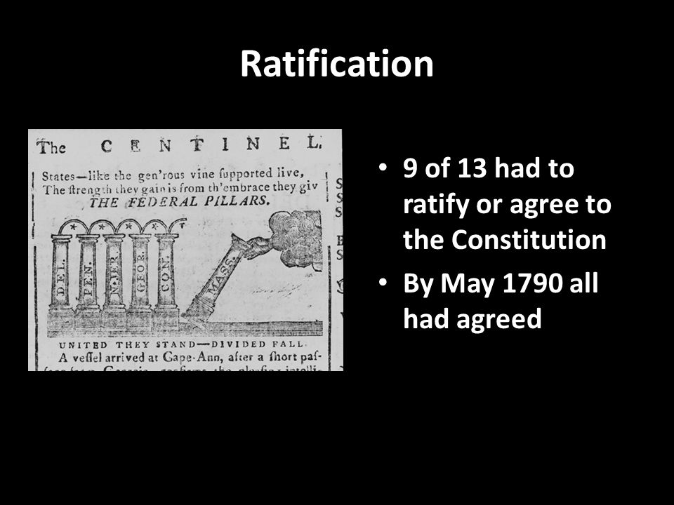 Ratification 9 of 13 had to ratify or agree to the Constitution