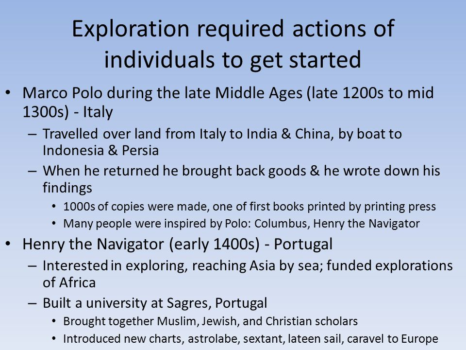 Exploration required actions of individuals to get started