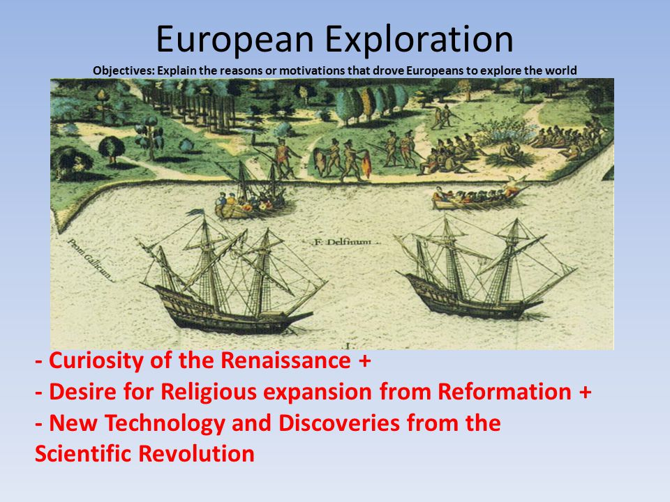 European Exploration Objectives: Explain the reasons or motivations that drove Europeans to explore the world