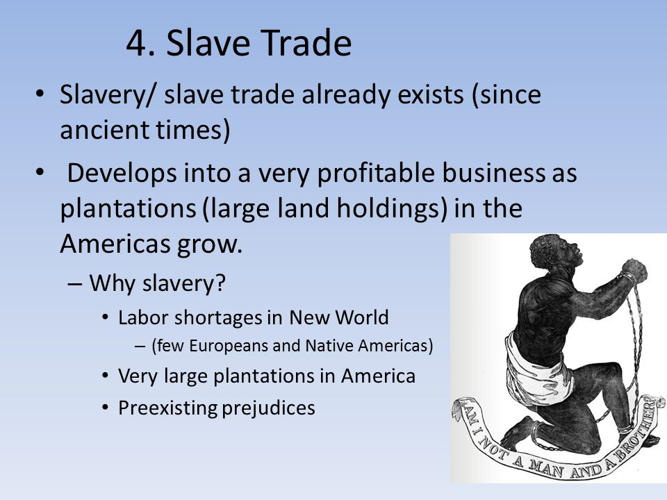4. Slave Trade Slavery/ slave trade already exists (since ancient times)
