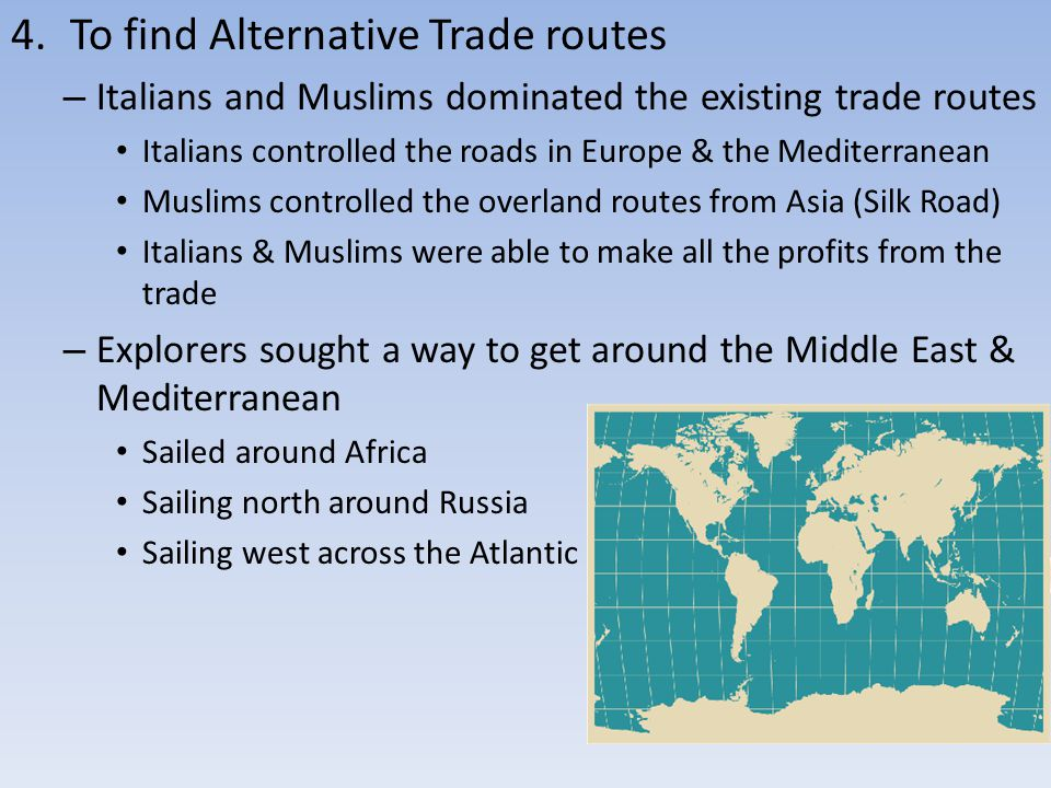 To find Alternative Trade routes