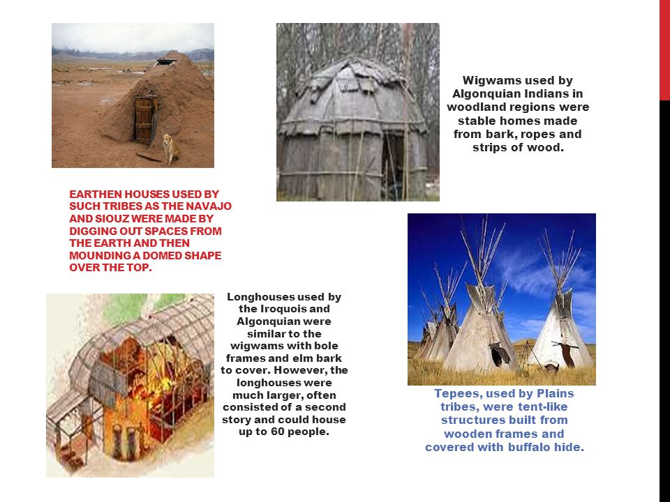 Wigwams used by Algonquian Indians in woodland regions were stable homes made from bark, ropes and strips of wood.
