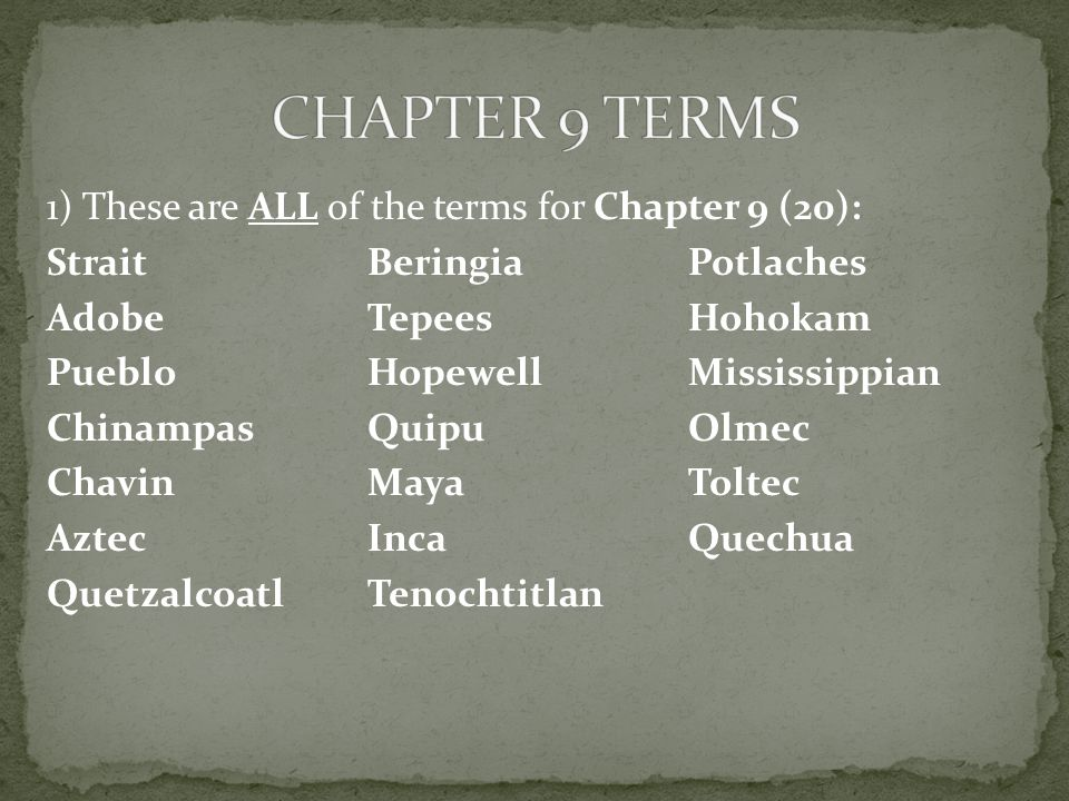 CHAPTER 9 TERMS