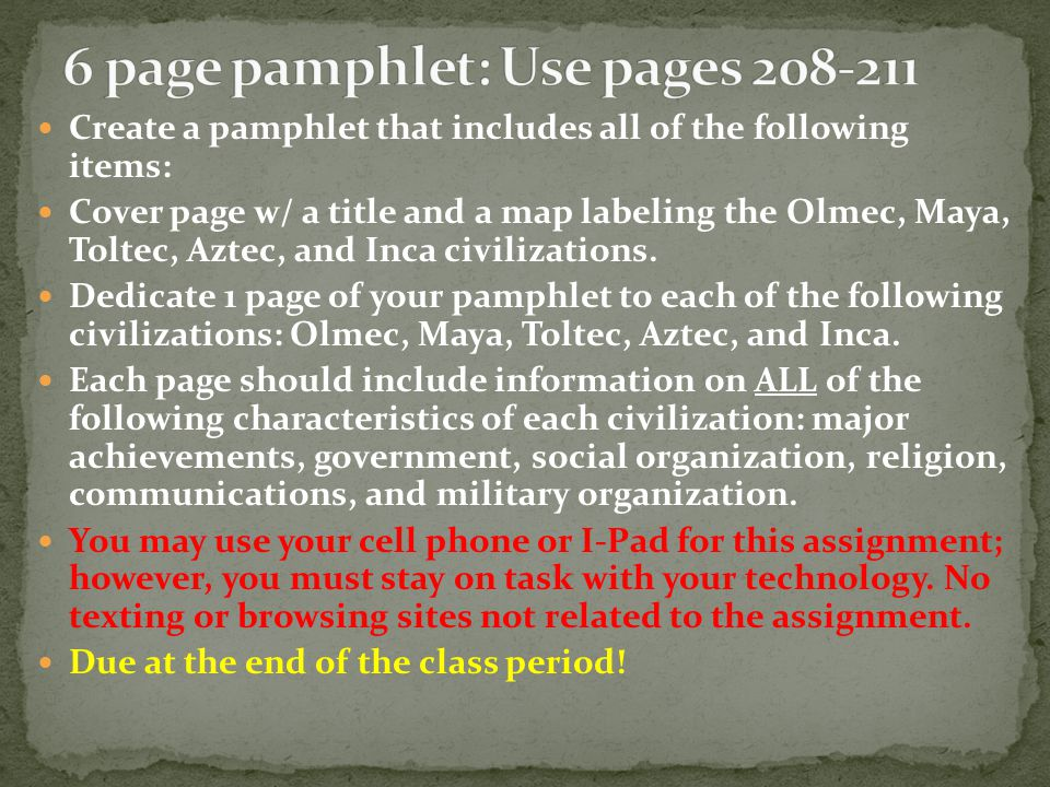 6 page pamphlet: Use pages 208-211
