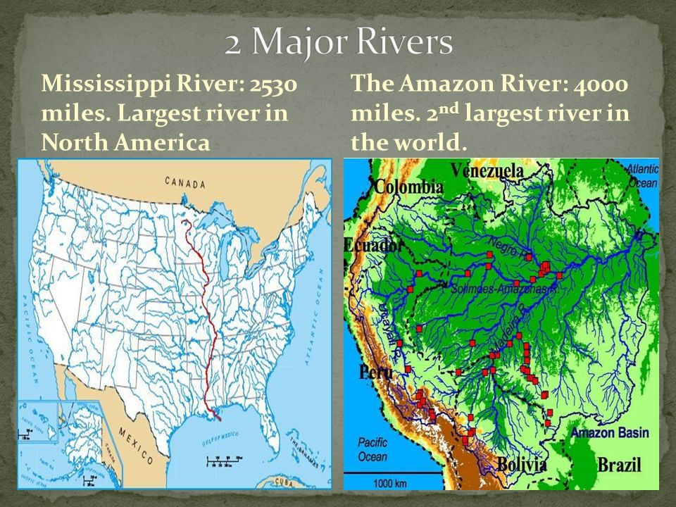 2 Major Rivers Mississippi River: 2530 miles. Largest river in North America.
