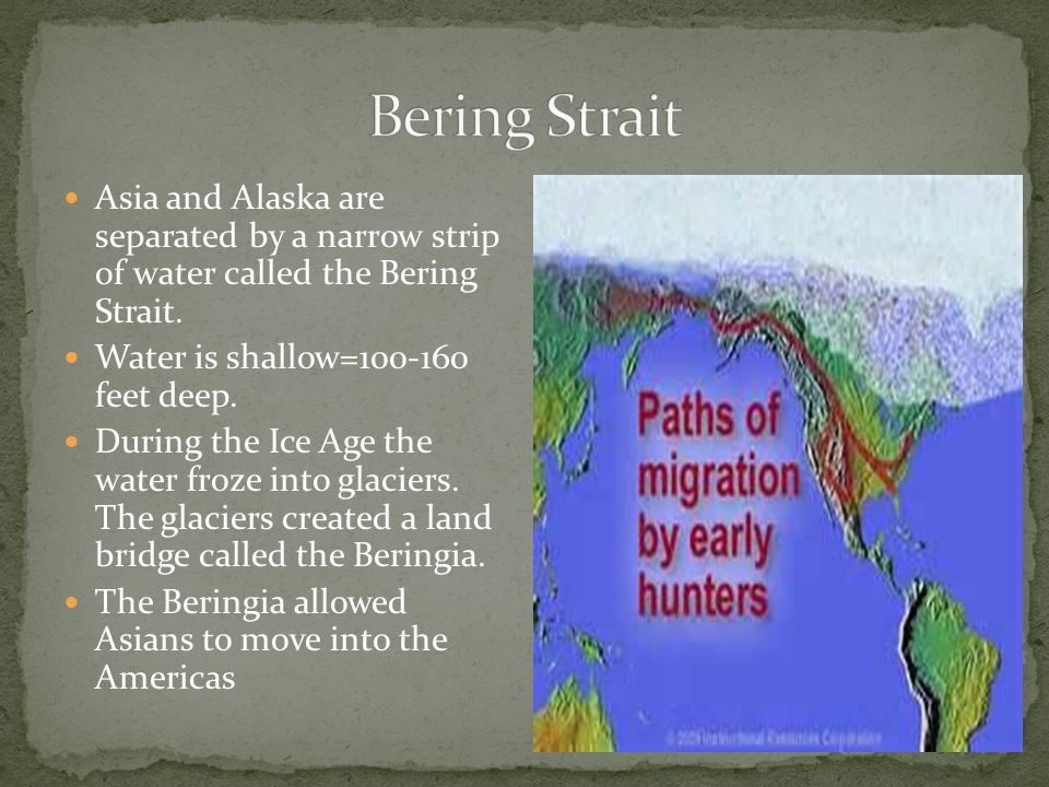 Bering Strait Asia and Alaska are separated by a narrow strip of water called the Bering Strait.