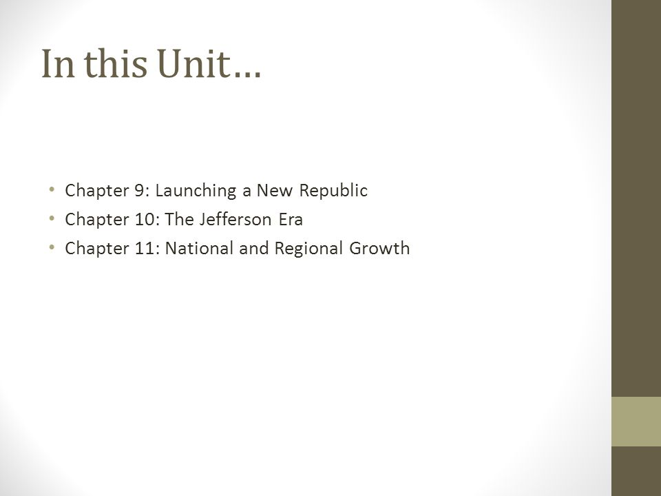 In this Unit… Chapter 9: Launching a New Republic