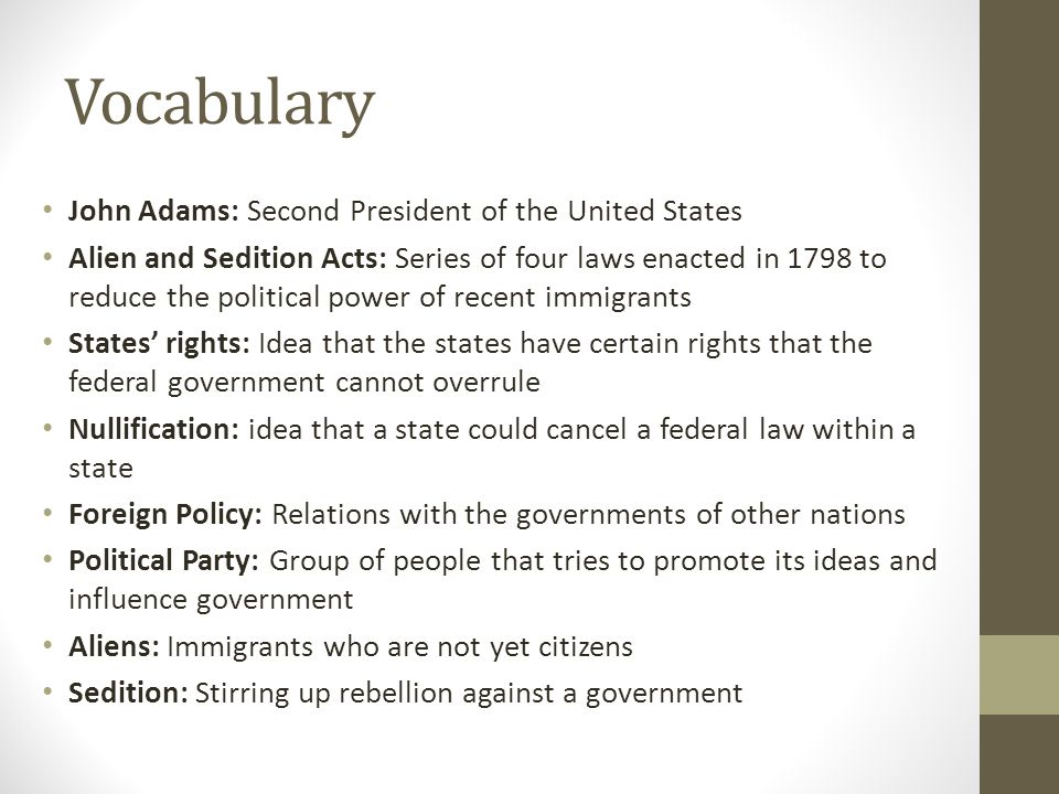 Vocabulary John Adams: Second President of the United States