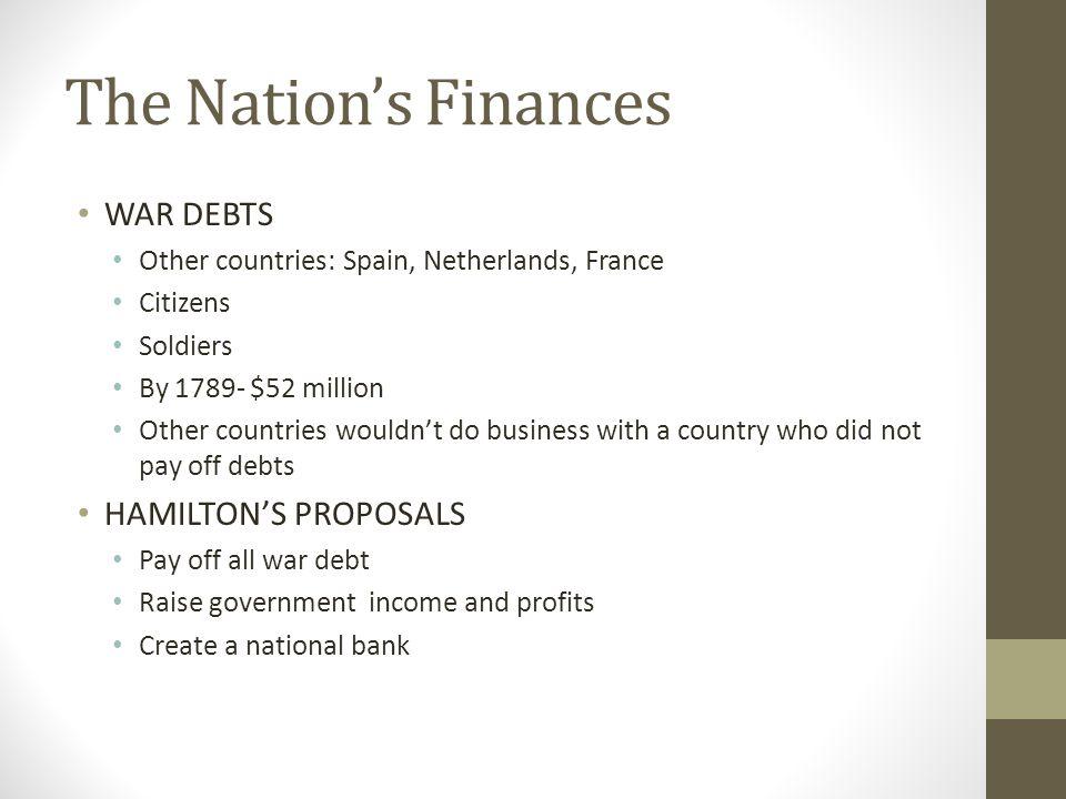 The Nation's Finances WAR DEBTS HAMILTON'S PROPOSALS