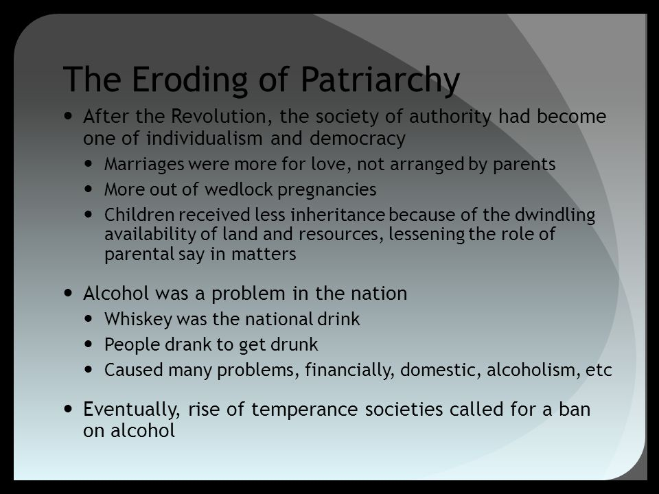 The Eroding of Patriarchy