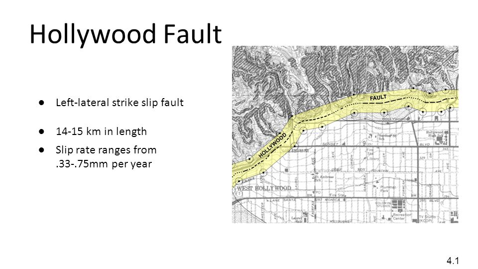 Hollywood Fault Left-lateral strike slip fault 14-15 km in length