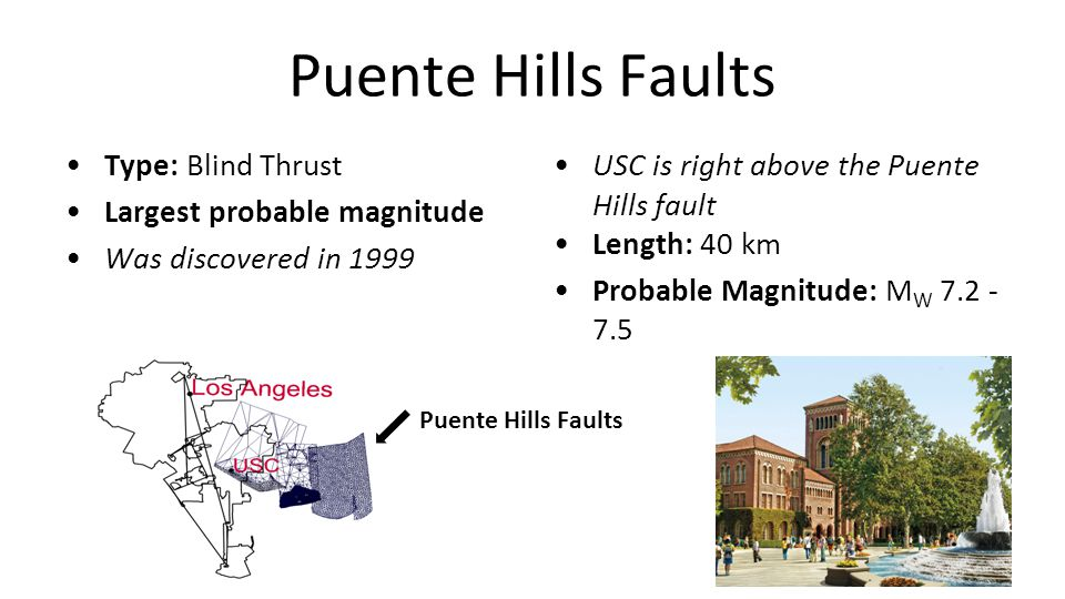 Puente Hills Faults Type: Blind Thrust Largest probable magnitude